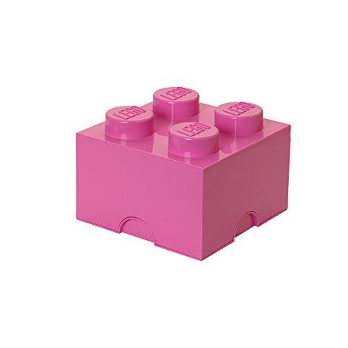 LEGO Aufbewahrungsstein, 4 Noppen, Stapelbare Aufbewahrungsbox, 5,7 l, rosa