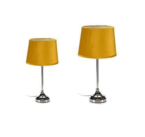 takestop® lamp van fluweel, geel, 24,5 x 24,5 x 45 cm, E27-licht voor nachtkastje, bureau, slaapkamer, draagbaar