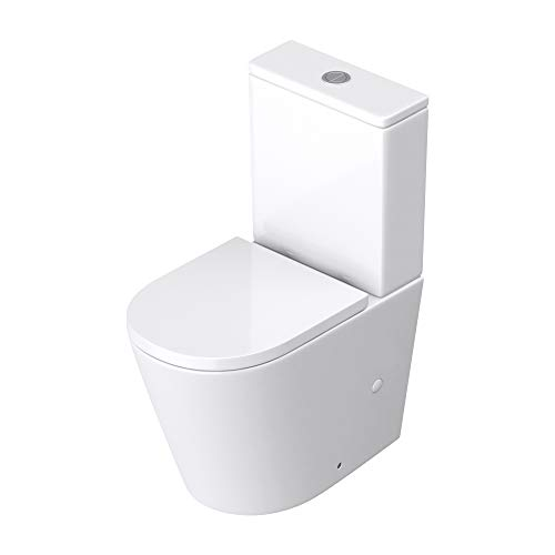 Sogood WC à poser céramique blanc toilette avec réservoir abattant silencieux avec frein de chute Aix176T