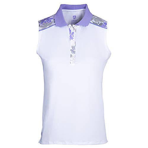 Island Green Polo para Mujer Iris con Estampado Floral, Transpirable, sin Mangas, Camiseta de Golf, Mujer, Camisa de Golf, IGLTS2057_WHLAV_S, Blanco/Lavanda, S