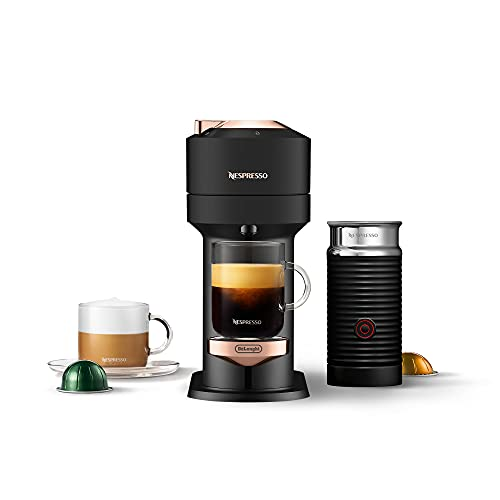 Nespresso Vertuo Next Coffee and Espresso Maker by De'Longhi, Deluxe Matte Black Rose Gold with Aeroccino Milk Frother