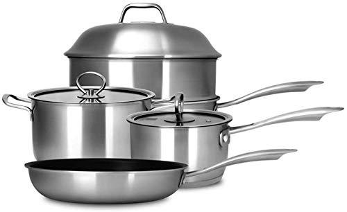XH&XH Batterie de Cuisine en Acier Inoxydable Revêtement antiadhésif Base à Induction Wok Pot à Soupe Poêle à Frire Couvercle sûr avec Couvercle et poêle à Frire Pots et casseroles combinés