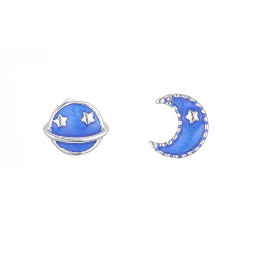 XINTIAN Stud Earrings 925 Sterling Silver Planet Moon Earring For Women Fashion Party Wedding Jewelry pendientes eh788