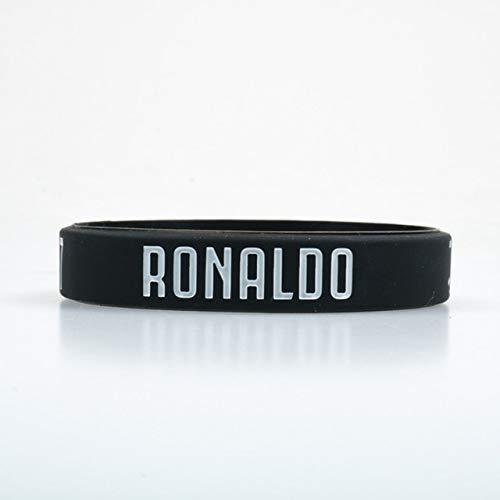 XIXI CR7 Silikon-Armband Fußball Fans Club Silikon-Armband Schwarz-Weiß-Farben Erwachsene Kinder Größe Mode Geschenk (Length : Kid Sizes, Metal Color : Black)