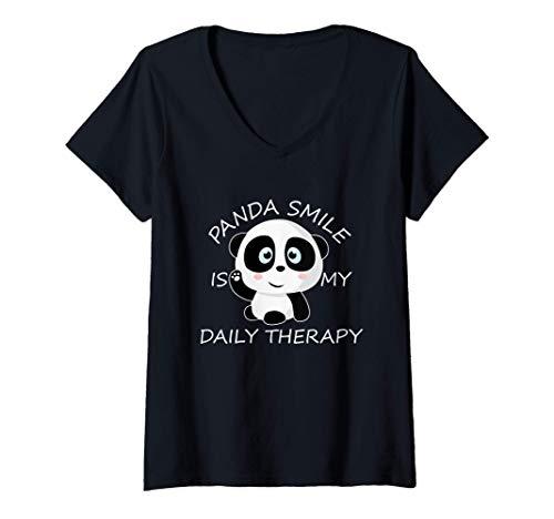 Mujer Panda Gigante Cub Sonre Oso Panda Beb Panda Disfraz Camiseta Cuello V