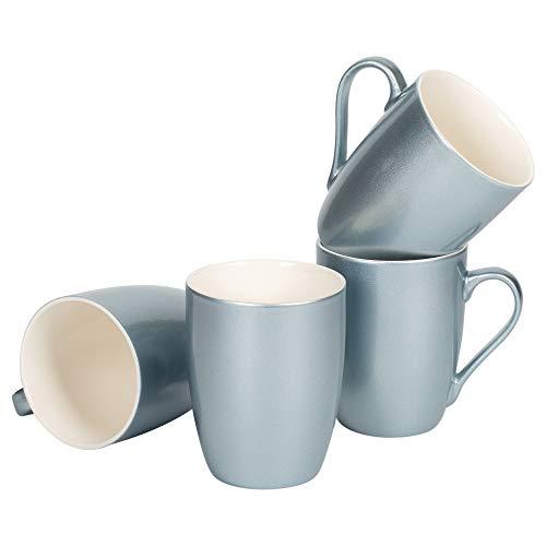 Juego de 4 tazas de café de porcelana con acabado metálico azul esmerilado, 295 ml