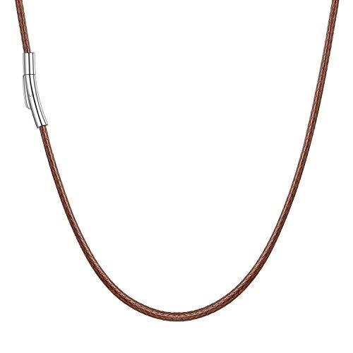 U7 braun Lederkette 2mm/45cm geflochtene Wachsschur Kette für Männer Frauen mit Edelstahl Verschluss Simpel Unisex Collier Schmuck für Party Alltagsleben