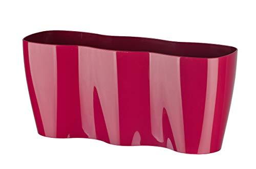 KADAX Blumentopf für Innen, Orchideen, Blumen, Pflanzen, Fensterbank, Übertopf, Orchideentopf, Pflanztopf aus Kunststoff, moderner Pflanzkübel, Blumenkübel, Blumenübertopf (35 x 12 cm, Rosa)