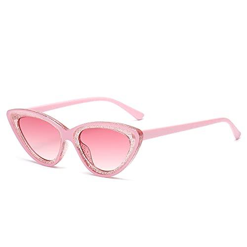 QWKLNRA Gafas De Sol para Hombre Marco Rosa Lente Rosa Gafas De Sol Deportivas Polarizadas Gafas De Sol De Ojo De Gato De Moda Gafas De Sol Clásicas con Montura De Plástico Vintage para Mujer Grad