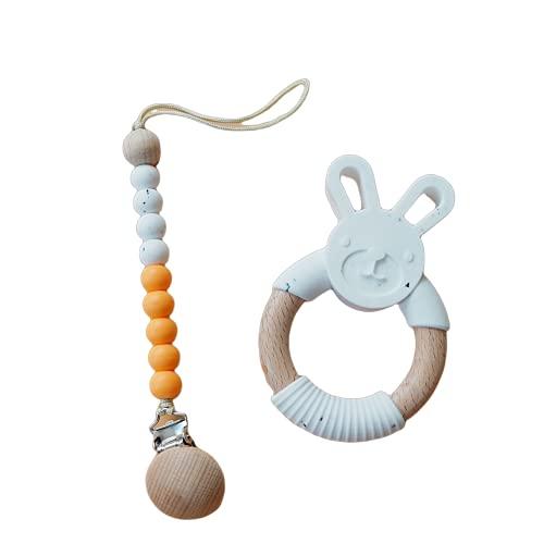 Anello da dentizione con il gancio per ciuccio senza BPA, atossico, silicone e legno naturale, anello per dentizione, regalo per nascita, regalo per nascita, regalo per nascita, regalo per la nascita