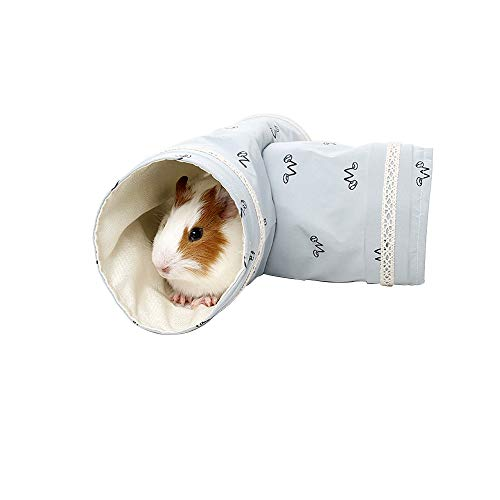 MYIDEA Guinea Pig Tunnel Playing Toys - 2 Way Tubes for Guinea Pigs, Hamsters, Sugar Glider,Snakes, Lizards Mic, Cotton Houses Cozy Beds for Small Animals 9.84x5.9x5.9 (Gray - Single Tunnel)