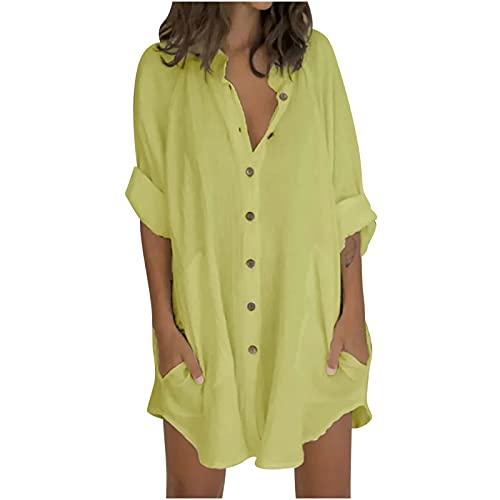Abito estivo da donna, abito corto, da donna, abito corto da donna, con maniche a 3/4, tinta unita, patchwork, giallo., M