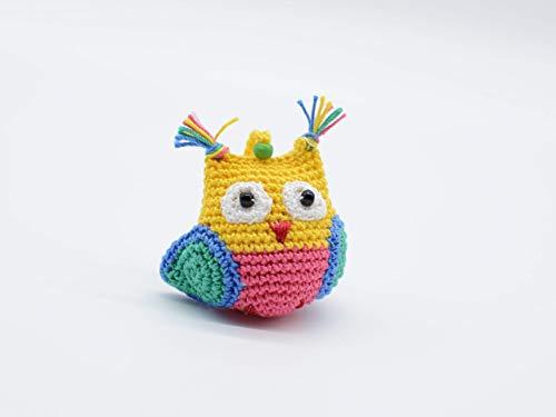 Farbige Eule, Amigurumi Schlüsselanhänger, ausgestopfter Vogel, lustiges Geschenk