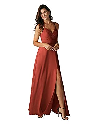 ALICEPUB Double Straps Rust Bridesmaid Dresses for Women Chiffon Long Formal Party Dress with Slit, US8