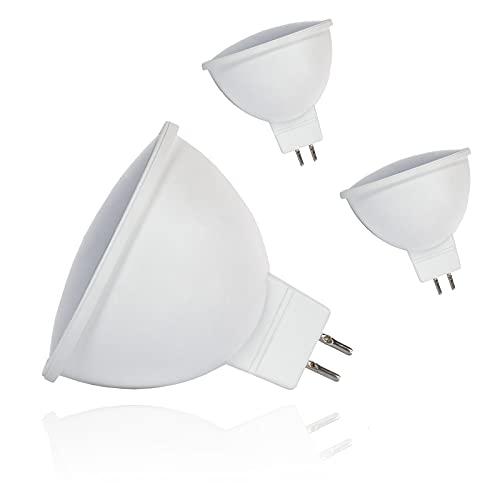 Bombilla LED GU5.3 7 W 6500 K, luz blanca fría, 500 lúmenes, bombilla que puede reemplazar halógeno de 60 W MR16, CA/CC, 12 V, sin parpadeo, foco de 120°, luz blanca fría, 3 unidades