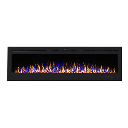 TruFlame 2020 NEW PREMIUM PRODUCT 72inch Black Wall Mounted Electric Fire with 3 colour Flames and can be inserted (Pebbles, Logs and Crystals)