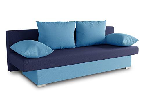 Schlafsofa Tina inklusive Bettkasten - Sofa mit Schlaffunktion, Bettsofa, Couchgarnitur, Couch, Bett, Schlafmöbel (Alova 29 + 24 (Hellblau + Blau))