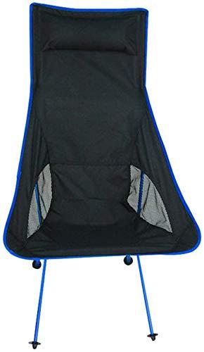 ZJDU Silla de Camping Silla Plegable Ligera Portátil Silla de Pesca Plegable portátil Cómodo Grande Espalda de Ocio Silla de Ocio al Aire Libre Silla de Playa Carga 110kg (Color : Dark Blue)