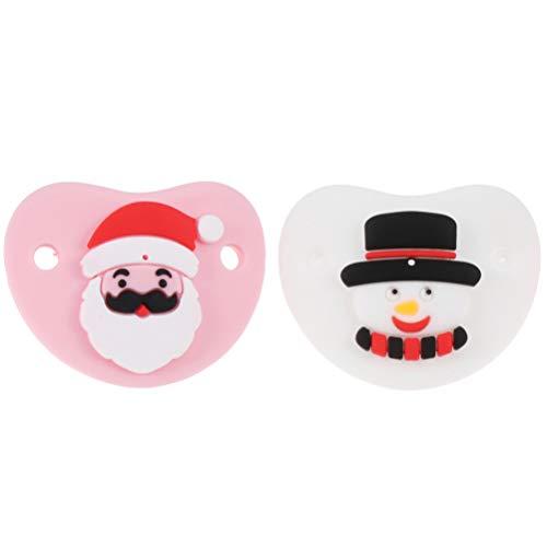 ABOOFAN Chupetes de silicona para bebés de Navidad, chupetes de bebé, juguete para Navidad, fiesta festiva, calcetín (rosa blanco)