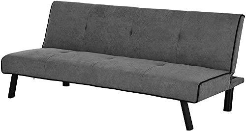 Sofá-cama individual respaldo ajustable tacto de terciopelo camas acolchadas pies con invitados balancín de metal muebles cómodos asientos compactos gris,Grey