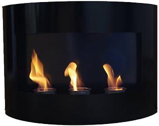 Gel y etanol chimenea Riviera Negro chimenea de pared chimenea de acero pintado al polvo