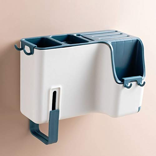 WXX Multifunctional Wall-mounted Chopstick Drain Tube Household Tableware Knife Holder Storage Box (Color : Blue)
