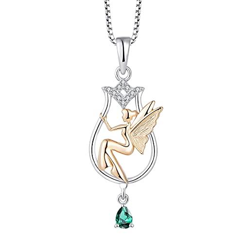 FJ Collar con colgante de ángel de la guarda de plata de ley 925, collar de hada con piedra natal y circonita cúbica,...