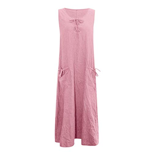 Clearance! Womens Plus Size Maxi Dress Casual Loose Bandage Sleeveless Retro Long Dress Pocket S-3XL (Pink, 5X-Large)