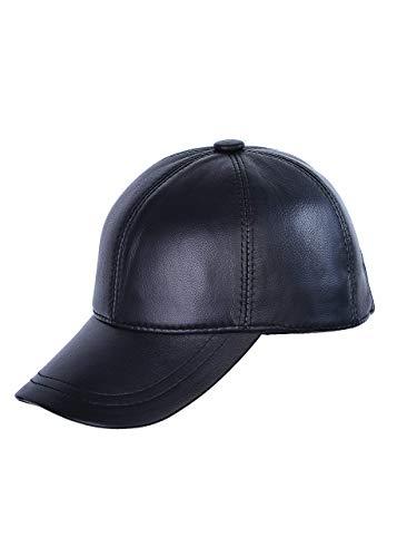 Mumcular Genuine Sheepskin Classic Leather Baseball Cap (Black)