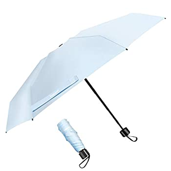 TradMall Mini Travel Umbrella Portable Lightweight Compact Parasol with 95% UV Protection for Sun & Rain Sky Blue