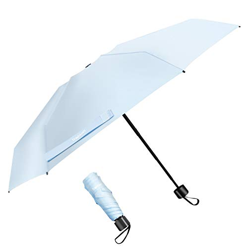 TradMall Mini Travel Umbrella, Portable Lightweight Compact Parasol with 95% UV Protection for Sun & Rain, Sky Blue