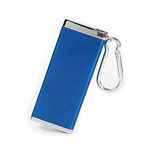 LASSE MOA 携帯灰皿 灰皿 アッシュトレイ アウトドア ピルケース 携帯用灰皿 ポータブル キーホルダー カラビナ付き (メタリックブルー)