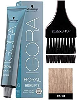Schwarzkopf IGORA Royal HIGHLIFTS Permanent Hair Color Creme (with Sleek Tint Applicator Brush) Haircolor Cream (12-19 Special Blonde Cendre Violet)