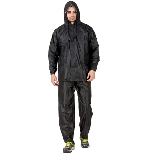 Carnest Rain Coat for Men Waterproof for Bike Double Layer with Hood Raincoat for Men. Set of Top and Bottom Packed in a Storage Bag Black 91 (L)