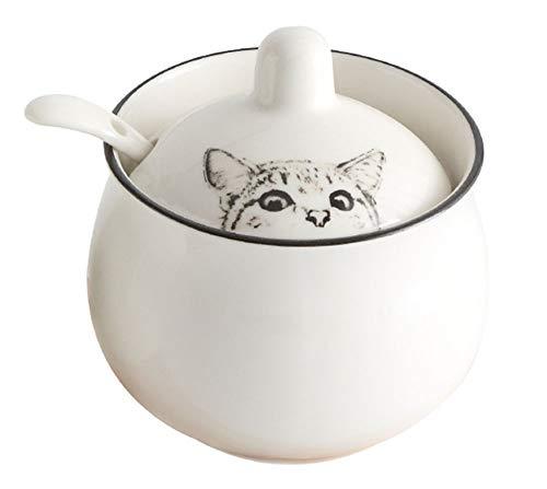 Ceramics Cartoon Cat Sugar Bowl Seasoning Salt Storage with Lid Spoon