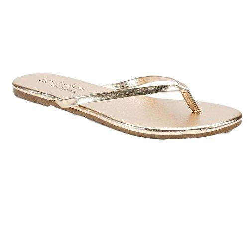 Sandália feminina Lauren Conrad, chinelo, vestido LC, Dourado, 7