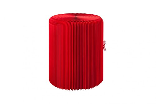 sompex PAPUR Papiermöbel Papier Tisch faltbar rot aus Kraftpapier mit Kunststoff Tischplatte rund 63 cm hoch 53 cm Durchmesser platzsparend nachhaltig Design modern Couchtisch