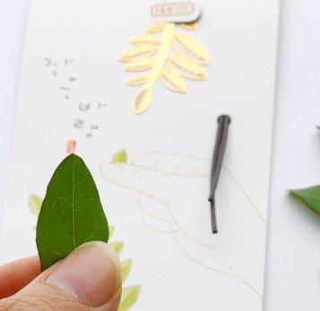 IQLIFE『【4枚セット】木の葉シリーズ金属しおりブックマーク』