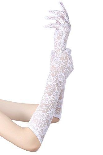 guanti lunghi bianchi ArtiDeco Guanti da donna in pizzo da sposa