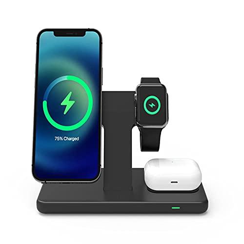 Cargador Inalámbrico, Soporte De Cargador Inalámbrico Rápido De 15 W, Estación De Carga Rápida QI 3 En 1 Compatible con Apple Watch; Compatible con AirPod; Compatible con iPhone