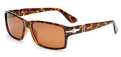 KIRALOVE Occhiali da sole uomo james bond - ragazzo - polarizzati - classico - rettangolari montatura marrone leopardata - lente marrone