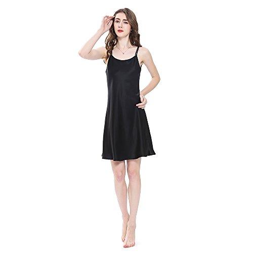 LilySilk Bezaubernd Seide Nachthemd Nachtkleid Nachtwäsche Damen Mini Kurz 16 Momme (XL, Schwarz) Verpackung MEHRWEG