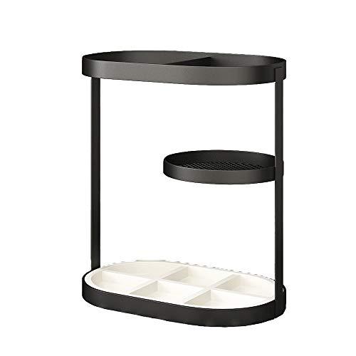 Decdeal Portaombrelli Design Moderno - Portaombrelli in Metallo Nero,con Vassoio Antigoccia in Pietra Rimovibile,per Ufficio Domestico