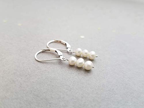 Sterling Silver Earrings with 3 small pearls (cultured) on Leverbacks