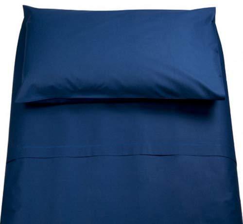Irge Lenzuola Cotone Puro 100% Matrimoniale Tinta Unita sotto sopra 2 FEDERE Vari Colori (Blue Scuro)