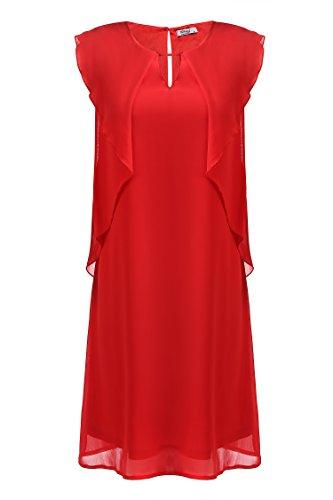Meaneor Damen Sommer Chiffonkleid Freizeitkleid Ärmelloses Kleid luftig Knielang Partykleid in festlicher Optik Party Arbeit Unifarbe