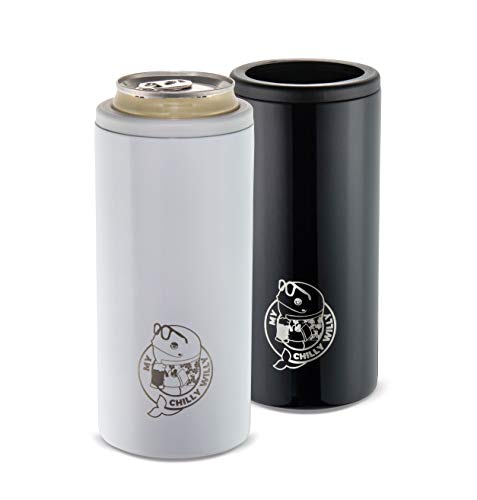 Stainless Steel Insulated Can Cooler Seltzer Buddy by My Chilly Willy - Skinny Tumbler Can Coolers for Slim 12oz Beer Cans like Truly and White Claw - Double Walled Drink Keeper Can Insulator (white)