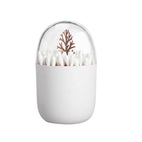 Da.Wa Stockage Boîte Support Cure-Dents Coton Tige Tige de Stockage Sac en Forme de Cadre cylindrique décoration de la Maison (Brown)