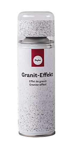 Rayher 34434102 vernice spray effetto granito opaco, grigio-bianco, 200ml, per superfici metalliche, vetro, porcellana, legno, carta, essiccazione rapida