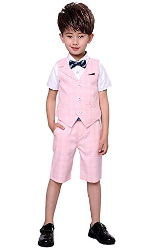 Ensemble de Costume pour Enfants 4 pièces, Costume de Mariage d'été pour garçons, Chemise à Manches Courtes, nœud Papillon, Gilet, Short, Rose à Carreaux, 160